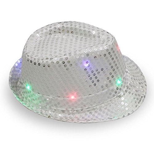 LED Jazz cappello, batteria Opearated lampeggiante Trilby Sequin cappelli hip-hop Dance berretto unisex luminoso illuminato per disco festa di compleanno, Dancing cappelli Taglia libera Silver