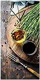 Wallario Design Wanduhr Kräuter (Basilikum, Schnittlauch), Öle und Gewürze auf Holzbrett in der Küche aus Acrylglas, Größe 30 x 60 cm, Schwarze Zeiger
