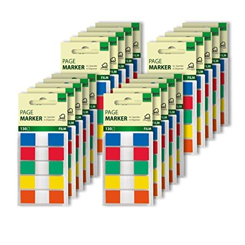 SIGEL HN475/20 Haftmarker, 20 Stück á 130 Mini-Streifen im Format 12 x 43 mm, 5 Farben