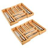 Homfa Bambus Besteckkasten Schubladeneinsatz, 2er Set mit 7 Fächer