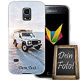 Mobilefox Eigenes Auto Handyhülle Personalisiertes Geschenk dünne Silikon TPU Case Foto Motiv für Samsung Galaxy S5 mini Mit Text