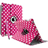 FullDream iPad 3 iPad 3rd Generation & New iPad 4 4th Generation & iPad 2 360 Rotating Leather Stand Cover Case With Magnetic Auto Sleep Wake, Including Screen Protector and Stylus Pen (Polka Hot Pink)