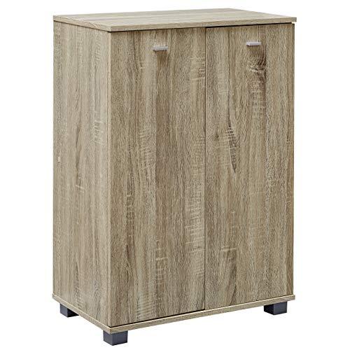 FineBuy Design Schuhschrank Tanja modern Holz Sonoma 12 Paar Schuhe 4 Fächer 2 Türen   Schuhregal 60 x 90 x 35 cm platzsparend   Schuhkommode Flurschrank mit Ablage - Kommode Holz-schuh