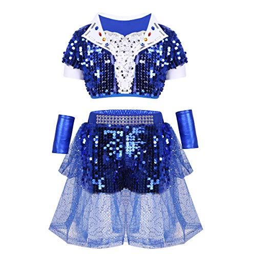 10 Top Party Kostüm - iiniim Kinder Mädchen Kleidung Set Cheerleaderin Kostüm Glänzend Pailletten Top mit Shorts Schulmädchen Kostüm Cosplay Party Festzug Blau 140-152/10-12Jahre