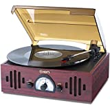 ION Audio Trio LP - Platine Vinyle Retro avec Haut-Parleurs Intégrés Radio et Entrée Auxiliaire