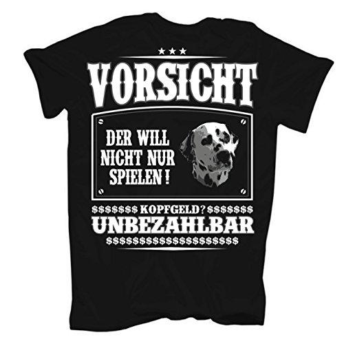 Männer und Herren T-Shirt Dalmatiner (mit Rückendruck) Schwarz