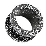 Piercingfaktor Flesh Tunnel Ear Plug Ohr Piercing Schraub Edelstahl plattiert mit Farbspritzer Schwarz Weiß 5mm