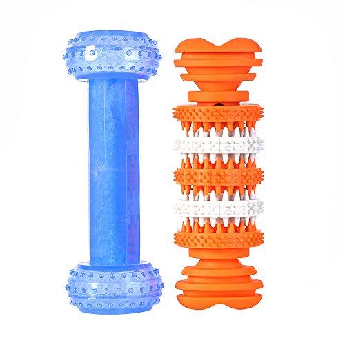 SlowTon Haustier-Hundekauen-Spielzeug, arktischer abkühlender Frost holen Nahrung-Beißen kauen Puzzlespiel-Training Hantel-und Zahn-Reinigungs-Festlichkeit Zahn-Zahnfleisch-Massage-reibende Gummi kauen Spielzeug-Knochen für Haustier-Hunde Kumpel (Hantel + Knochen)