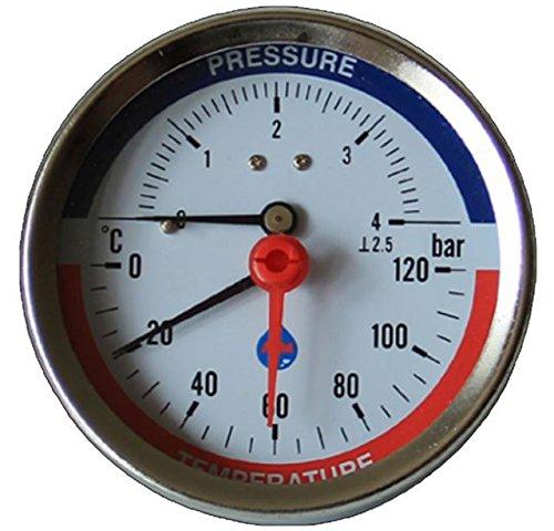 80mm Zifferblatt 0-120C 0-4 BAR Hintereingang Temperatur Manometer 1/2