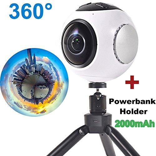 turnmeon 360VR Kamera 60fps 4K HD Panorama 3D Wifi Sport Action Kamera 220° breit Engel Fisheye Video Replay (weiß)