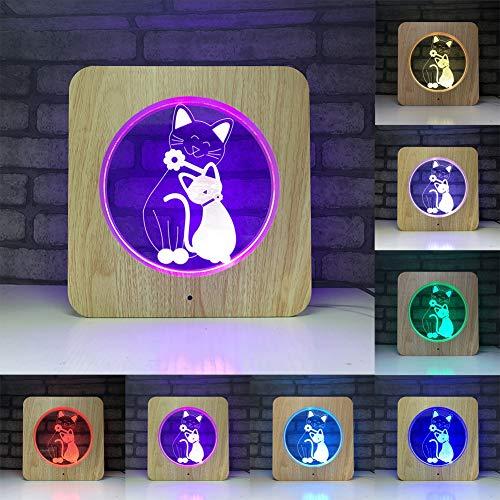 Katze 3D Illusion Lampe, LED Tischleuchte Desk Nacht, 7 Farben ändern, USB-Touch-Steuerung, ABS Wood Grain Frame perfekte Schlafzimmer dekorative Beleuchtung