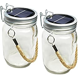 SkaizeTM - Lampe solaire LED dans un bocal en verre avec corde de suspension-Lot de 2