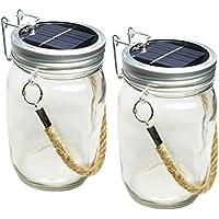 Lampada a LED a energia solare in barattolo di conserva Skaize™ con corda sospensore - (Corda Solare)