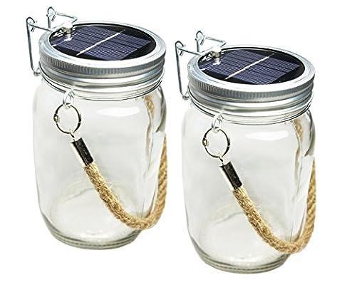 Skaize Lampe solaire LED dans son pot en verre avec corde de suspension–Lot de (Corda Solare)