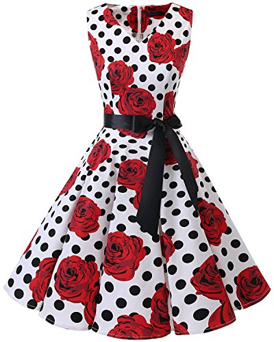 Bridesmay Damen Vintage 1950er Rockabilly Ärmellos Retro Cocktailkleid Partykleid White Black Dot...