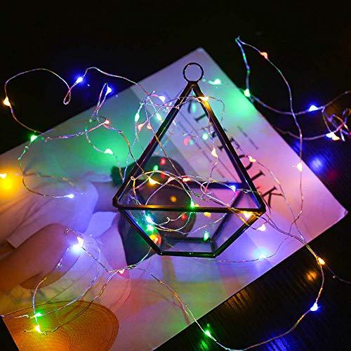 Dapei 5M 50 LED Lichterkette - USB Kupferdraht Lichterketten mit Fernbedienung Wasserdicht 8 Modi Beleuchtung Deko für Weihnachten Hochzeit Balkon Indoor/Outdoor Party (Mehrfarbig)