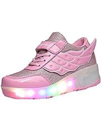 Meurry unisex niños de ala Led luz intermitente Single Wheels Roller zapatos Rollerblades patines entrenador de la noche de deporte zapatos para la Navidad