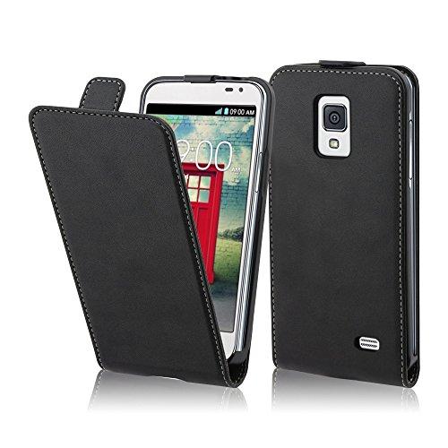 Preisvergleich Produktbild Cadorabo Hülle für LG F70 Hülle in KAVIAR Schwarz Handyhülle aus Glattem Kunstleder im Flip Design Case Cover Schutzhülle Etui Tasche Kaviar-Schwarz