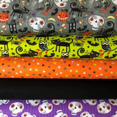 Stoff Editions Glow in The Dark Stoff Bundle–Halloween–Halloween Trick or Treat–Bundle–fefb04–100% Baumwolle