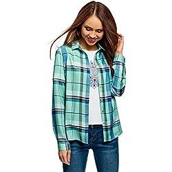 oodji Ultra Mujer Blusa Estampada de Viscosa, Verde, ES 42 / L