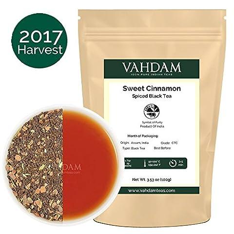 Vahdam Cinnamon Spice, Masala Chai Tea (35-40 Cups) - Sweet & Spicy Cinnamon Tea, Delicious blend of Assam Black Tea with Fresh Cinnamon & Cardamom - India's Original Masala Tea Recipe from India, 100gm