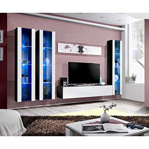 JUSThome AIR C II Wohnwand Anbauwand Schrankwand (HxBxT): 190x310x40 cm Schwarz Matt / Weiß Hochglanz