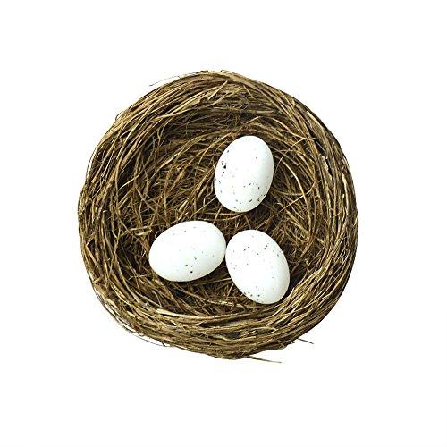 Vogelnest mit 3 Rotkehlchen-Eiern, Haus- oder Gartendeko für Frühling / Ostern