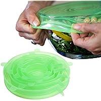 JSS, in Silicone, con elastico, confezione da 6 tazze, per pentole, padelle e ciotole contenitori verde chiaro