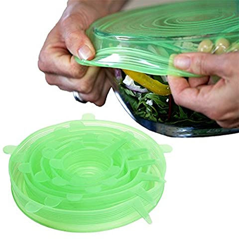 Wolecok Silicone Stretch Covers Pan Cover Silicone Stretch Lids 6-Pack of Various Sizes (Light Green)