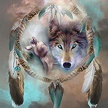 5d diy Diamond bordado pintura Kit/Rhinestone Pasted pintura/de punto de cruz–con Full cuadrado diamante y hacer herramienta, Animal - Wolf, 40 x 40 cm