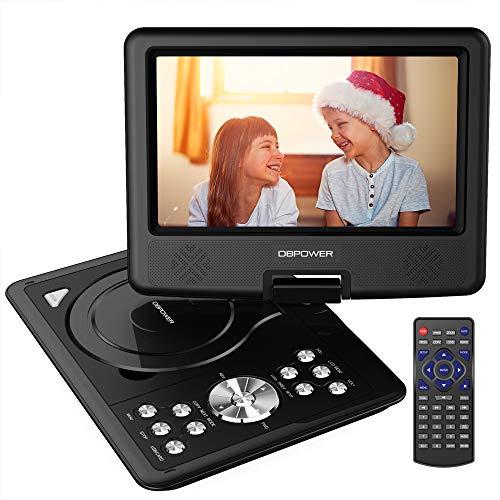 DBPOWER 9.5'' Tragbarer DVD-Player mit Wiederaufladbarer Batterie, Schwenkbaren Bildschirm, Unterstützt SD-Karte und USB, mit Spiele-Joystick, Auto-Ladegerät-Schwarz -