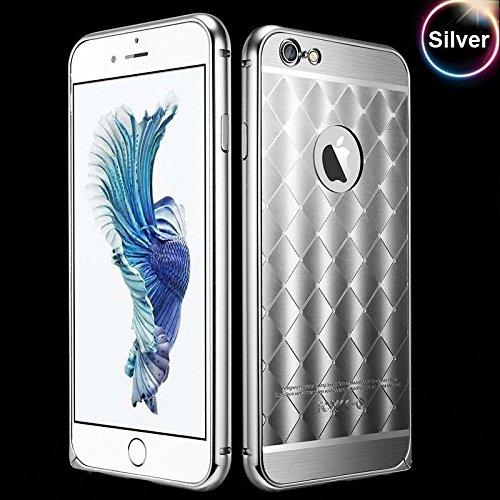 LUXUS Aluminium Metall Diamond Kariert Bumper Case Back Cover Tasche Schutz Hülle für iPhone 6+ / 6S+ PLUS (5'5 Zoll) - SILBER KARIERT - SILVER ▄▀▄▀▄ (Case Iphone Plus 6 Metall Bumper)