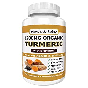 Hewis & Selby Organic Turmeric 1200mg Capsules With Black Pepper - 60 Veggie Caps - Natural Joint Pain Relief & Anti-Inflammatory