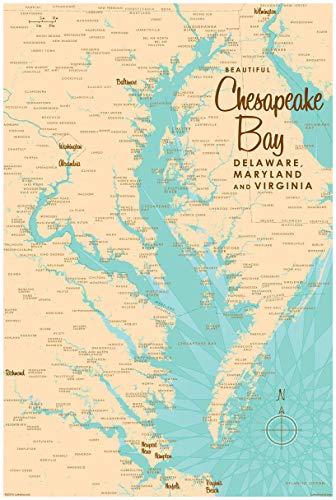 Northwest Art Mall Chesapeake Bay MD Virginia Map Gerahmter Kunstdruck by lakebound 24x36 inch