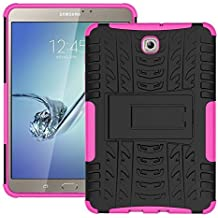 DWay Custodias Tab S2 8.0 T710 Hybrid Armor Design with Stand Feature Detachable Dual Layer Protective Shell Hard Tablet Back Cover Custodias per Samsung Galaxy Tab S2 8.0inches SM-T710 / T715 (Rose Red)