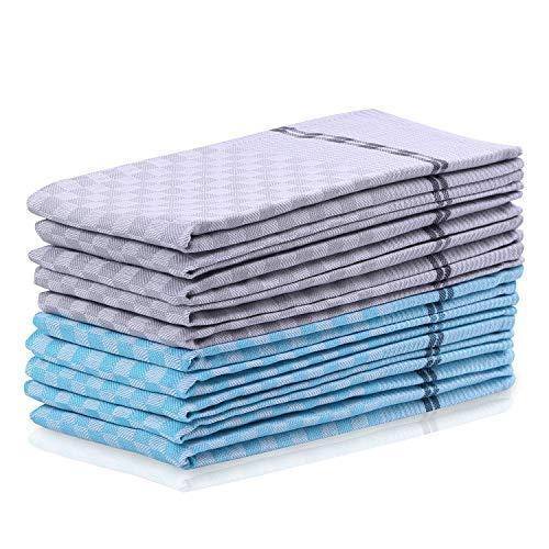 DecoKing 10er Set Küchentücher 50x70 cm mit Aufhänger 100% Baumwolle türkis grau Stahl hochwertige Geschirrtücher Louie