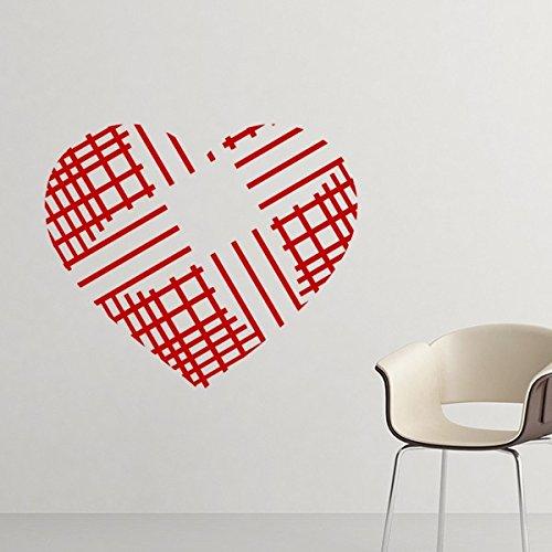 DIYthinker Valentinstag Heart Shaped Red Crossing Linien Illustration Muster entfernbare Wand-Aufkleber-Kunst-Abziehbilder Wand-DIY Tapete für Zimmer Aufkleber 60cm Rot -