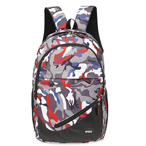 Sansee Recreation borsa viaggio tela camouflage Satchel scuola zaino, Green Red