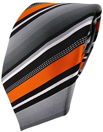 TigerTie Designer Krawatte in orange silber grau weiss gestreift - Tie Binder