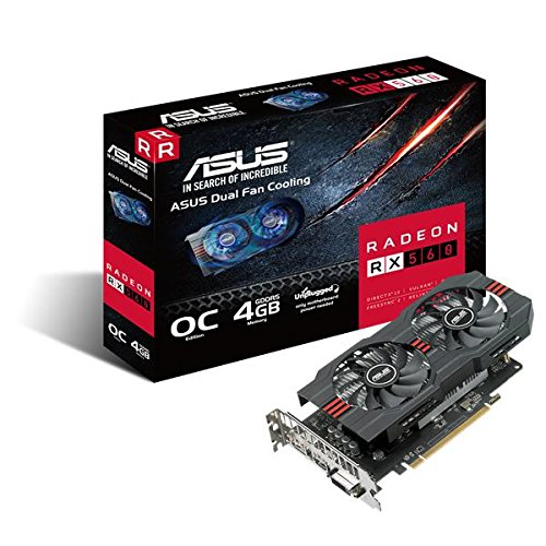 ASUS Radeon RX560-O4G Gaming Grafikkarte (AMD, 4GB DDR5 Speicher, HDMI, DVI, Displayport)