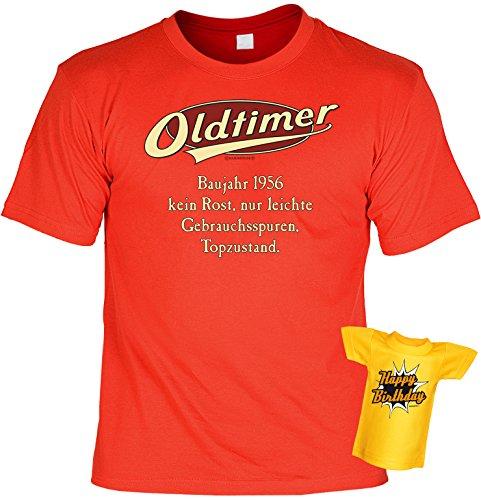 Geburtstags-Jahrgangs-Fun-Shirt-Set inkl. Mini-Shirt/Flaschendeko: Oldtimer Baujahr 1956 - geniales Geschenk Rot