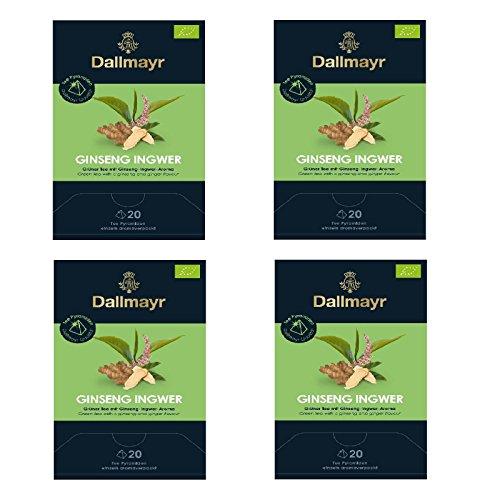 4 x Dallmayr Ginseng-Ingwer Bio Tee a 20 Pyramiden x 2,5g