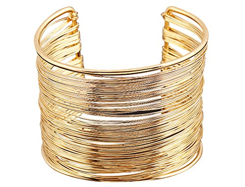 YipGrace Damen Metall Ringe Multischicht Stulpe Armband Gold