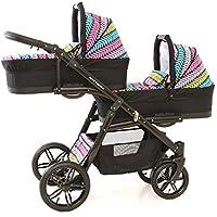 Coche gemelar completo 3 piezas. Sillas + capazos + sillas de coche grupo 0 + accesorios. Negro+colores. Onyx Tandem