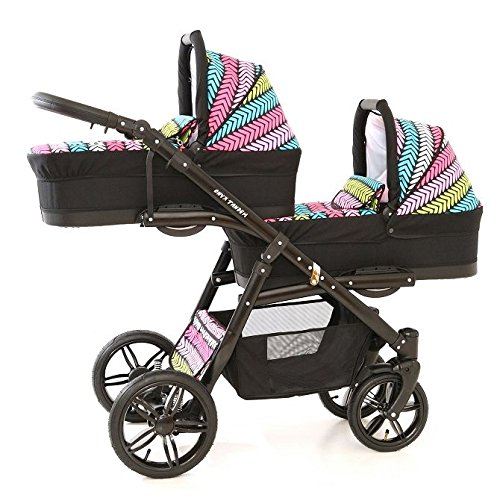 Double pram for twins. 2 carrycots + 2 buggies + 2 car seats. Multicolour. BBtwin Berber Carlo Directly from the factory, warranty and advice. Made un the EU according to the regulations EN1888 and ECE44/04. Multicolour. Includes 2 carrycots, 2 buggy seats, 2 car seats, bag, 2 footcovers, 2 rain covers, 2 mosquito nets, lower basket. Features: lightweight aluminium frame, easy bending, adjustable handlebar, central brake, lockable front swivel wheels, shock absorbers, each buggy can be instaled independently in both directions, carrycots with a mattress and a washable cover, backrest adjustable in various positions, safety bar and harness of 5 points 1