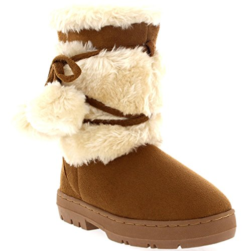 Holly Kinder Mädchen Pom Pom fur Trim Winter Wildleder Mitte Wade Schnee Warm Winter Stiefel - Licht Tan - LTA30 AEA0453 (Fell Kinder Wildleder Winterstiefel)