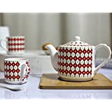 Kittens Red Family Tea Set Of 4 Bone China Cups With Kettle