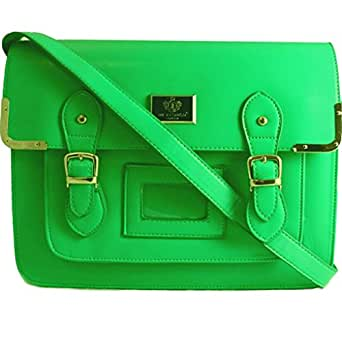 B60 WOMENS LADIES GIRLS FAUX LEATHER MEDIUM VINTAGE SATCHEL SCHOOL CROSSBODY SHOULDER SATCHEL HANDBAG - SHU CRAZY (NEON GREEN FAUX LEATHER)
