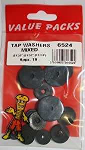 16 Tap Washers, Mixed Sizes, 3/8, 1/2, 3/4 inch Washers