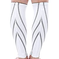 Zhuhaimei,Gepaart Sport Sicherheit Bein Kalb Compression Sleeves Protector Unterstützung Wrap Pad für Fußball Fußball Radfahren Laufen(Color:Weiss,Size:M)